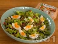 Рецепта Зелена салата Кан с чушки, каперси, аншоа и варени яйца